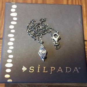 Rare Silpada SS Oxidized Marquis CZ Necklace